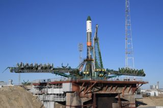 A Russian Soyuz rocket carrying the Progress 71 cargo ship stands atop its launch pad at Baikonur Cosmodrome, Kazakhstan for a Nov. 16, 2018 launch to the International Space Station.