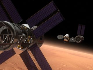 Orion Space Capsule in Orbit Around Mars