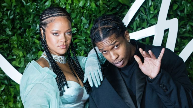 A$AP Rocky and Rihanna arrive at The Fashion Awards 2019