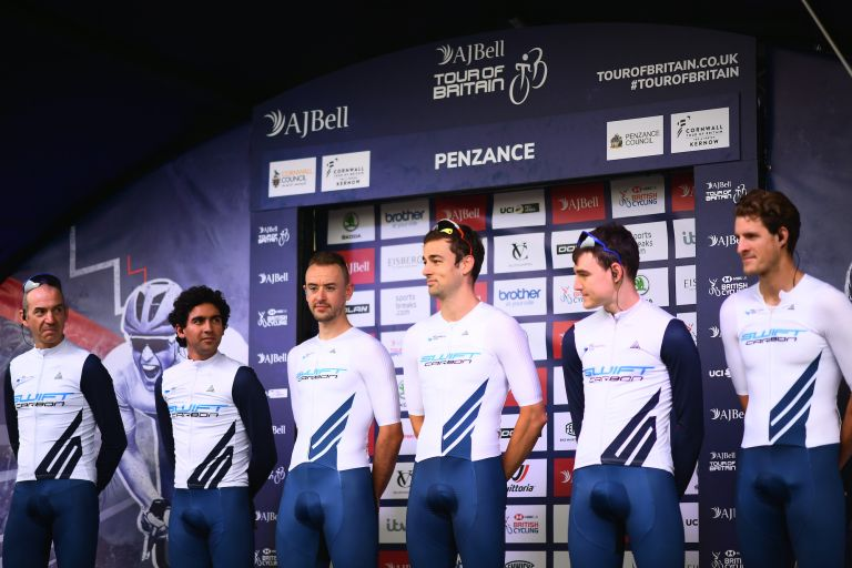 Alex Peters (second from left) at the 2021 Tour of Britain