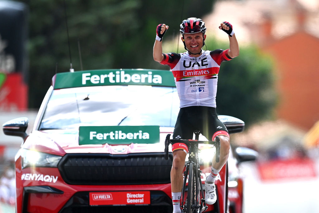 EL BARRACO SPAIN AUGUST 29 Rafal Majka of Poland and UAE Team Emirates celebrates winning during the 76th Tour of Spain 2021 Stage 15 a 1975km km stage from Navalmoral de la Mata to El Barraco lavuelta LaVuelta21 on August 29 2021 in El Barraco Spain Photo by Stuart FranklinGetty Images