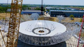 The GRAS-4 antenna in Tianjin in north China, under construction in 2020.