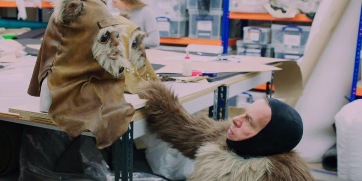 Warwick Davis puts on Wicket costume Star Wars: The Rise of Skywalker featurette