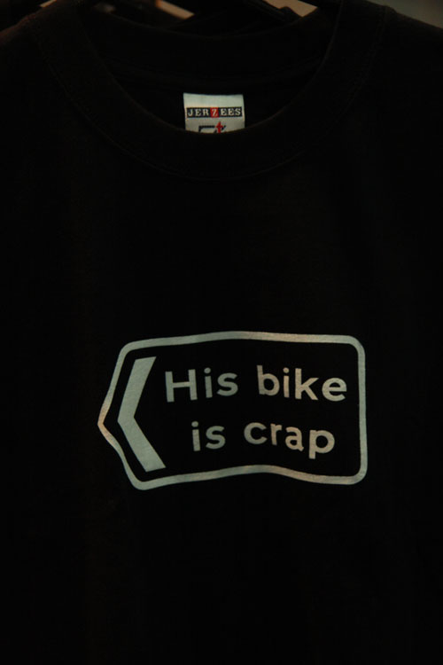 His Bike IS Crap t-shirt, Cycle Show 2009