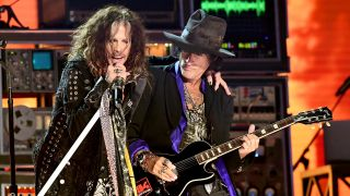 [L-R] Steven Tyler and Joe Perry of Aerosmith