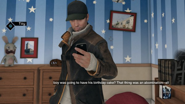 Aiden Pearce and a copy of Assassin's Creed