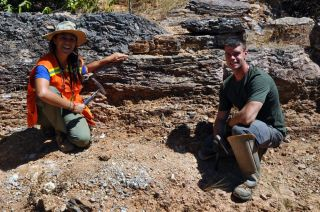 Scientists looking at phosphorous-containing rock layers