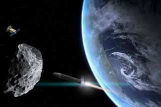 An illustration shows a rocket approaching an asteroid that's drifted too close to Earth. A scout probe orbits nearby.