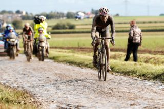 Gianni Moscon (Ineos Grenadiers) on the attack in Paris-Roubaix