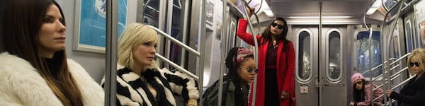 The Ocean's 8 crew rides the subway after the heist