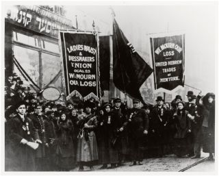 Demonstrators mourn the victims of the Triangle Shirtwaist Factory fire in New York City in 1911.