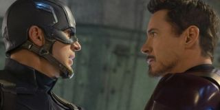 Chris Evans as Steve Rogers/Captain America and Robert Downey Jr. as Tony Stark/Iron Man in Captain