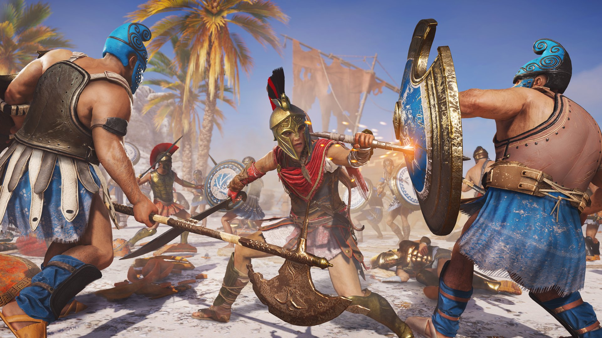 A Spartan battle unfolds in Assassin's Creed Odyssey.