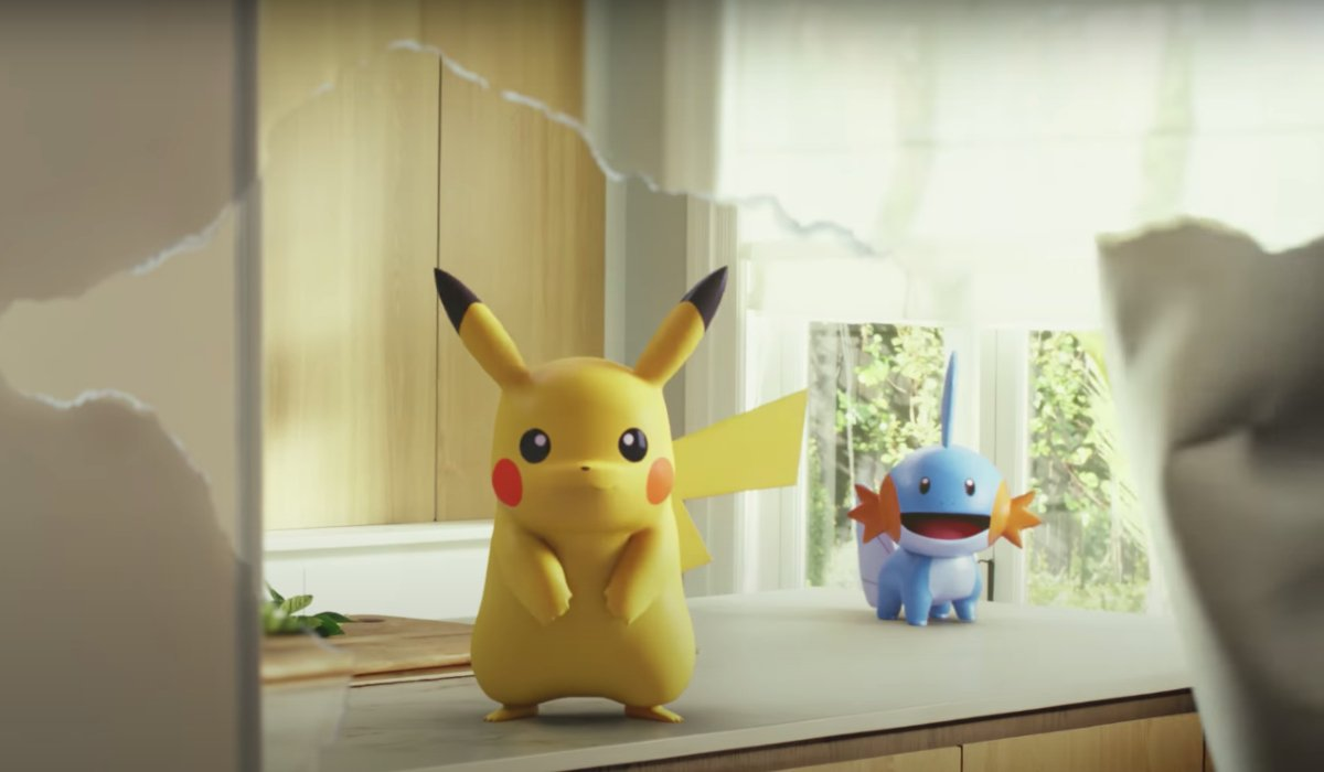 Pokemon Go Pikachu and Mudkip stand on a kitchen counter