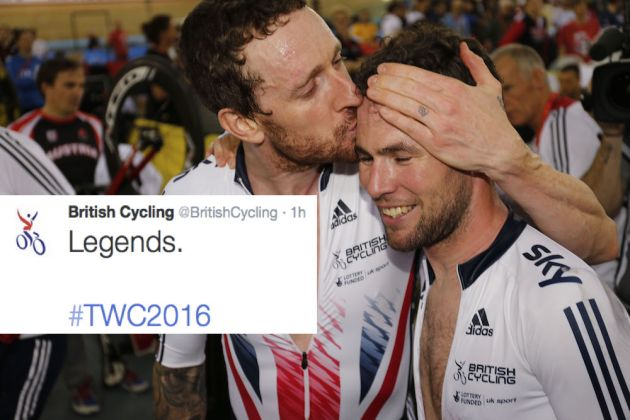 Sir Bradley Wiggins and Mark Cavendish at the Track World Championships (Sunada)