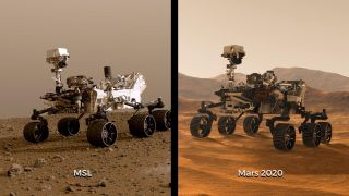 Illustrations of NASA's Curiosity (also known as the Mars Science Laboratory, or MSL) and Mars 2020 rovers. While the newest rover borrows from Curiosity's design, each has its own role in the ongoing exploration of Mars and the search for ancient life.