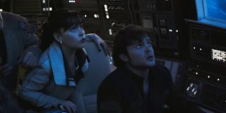 Qi'ra and Han on the Falcon