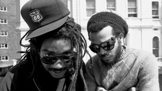 A photograph of Bad Brains on a rooftop in London in the 80s