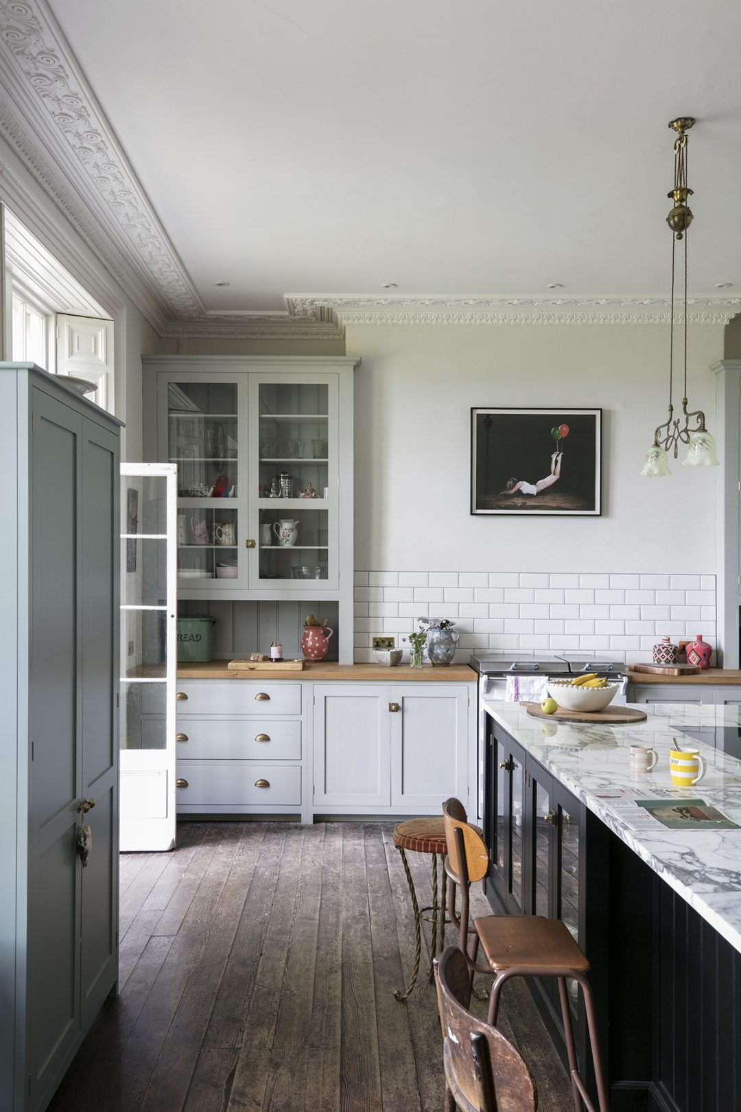 Get the look the cabinetry worktops and brassware are all by devol the pendant was found in an antiques shop in exeter the stools are from old albion in