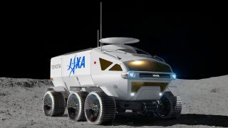 Artist's illustration of the planned Toyota/JAXA crewed rover on the moon.
