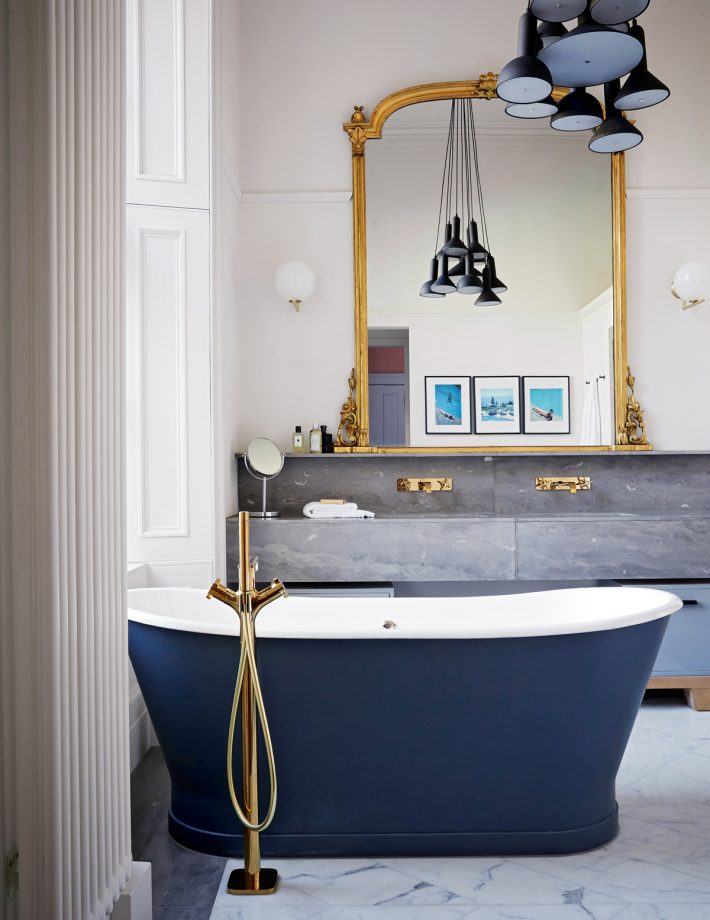 Get The Look: This Is The Astonian Epoca Roll Top Bath By Aston Matthews.  The Floor Mounted Mixer Is The Is The Axor Citterio E By Hansgrohe.