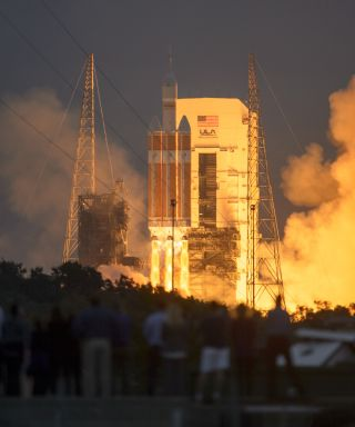 A United Launch Alliance Delta IV Heavy rocket launches NASA's Orion crew capsule on Exploration Flight Test-1, an uncrewed mission to Earth orbit, on Dec. 5, 2014.