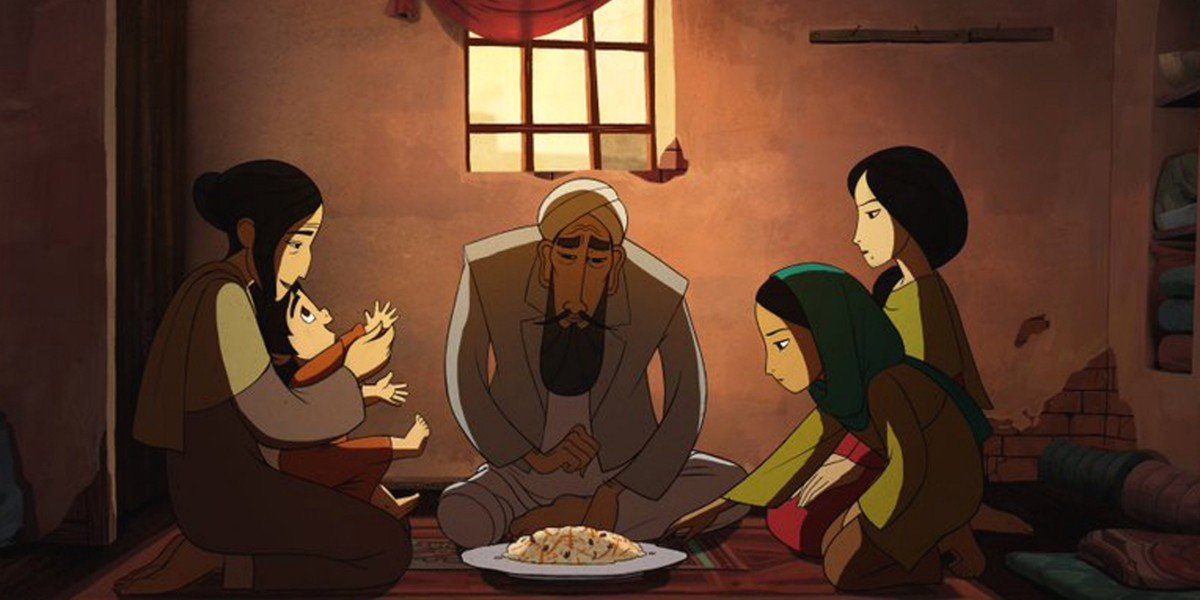 Parvana and her family share a meal in The Breadwinner
