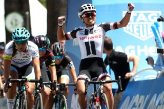Coryn Rivera of the United States riding for Team Sunweb reacts after winning Stage 3 of the Amgen Breakaway From Heart Disease Women's Race empowered with SRAM from Elk Grove to Sacramento on May 13, 2017 in Sacramento, California.