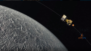 An artist's depiction of the Chandrayaan-2 spacecraft orbiting the moon.