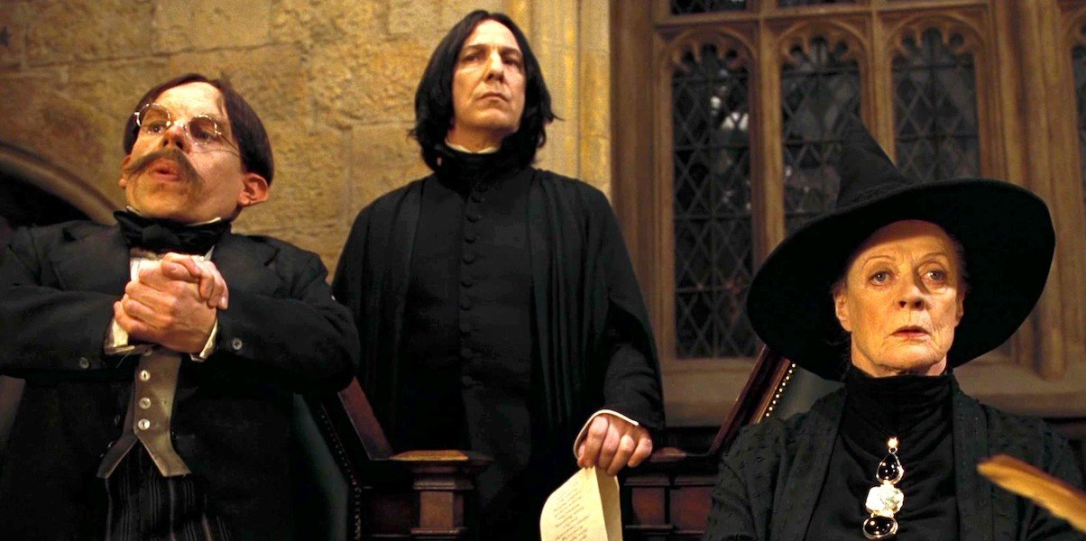 Warwick Davis as Flitwick, Severus Snape and McGonagall in Harry Potter, Sorcerer's Stone