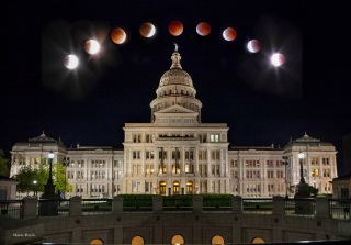 Lunar Eclipse Over Austin Capitol Building