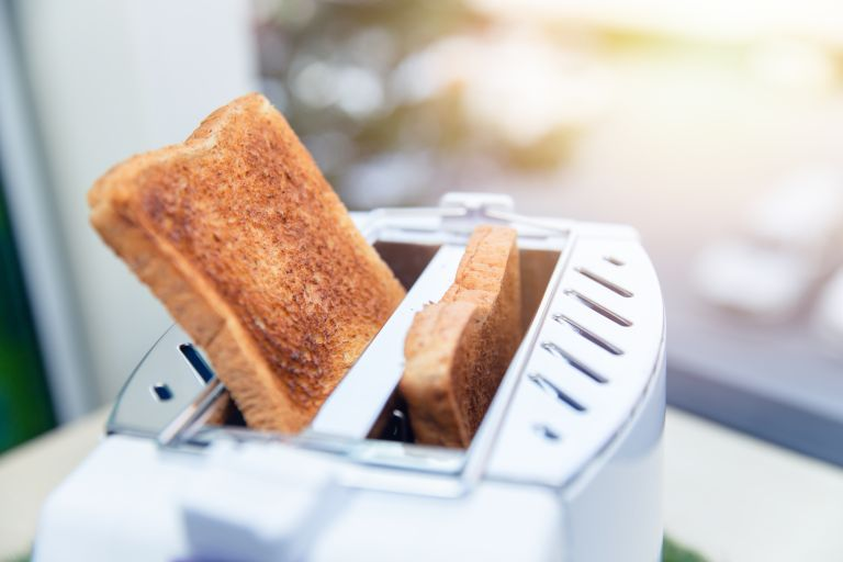 How to clean a toaster: bread popped up from toaster