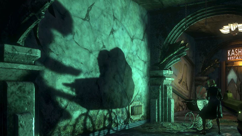 BioShock 2 shadow of splicer enemy with baby carriage