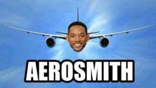 An aeroplane with Will Smith's face on it