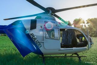 An image of an Airbus H135 helicopter modded into Microsoft Flight Simulator