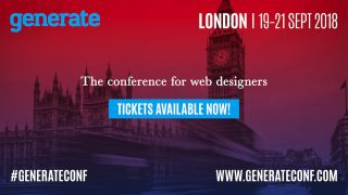 Image with a message announcing tickets for Generate London are now on sale, over the top of a London skyline with a red and purple gradient