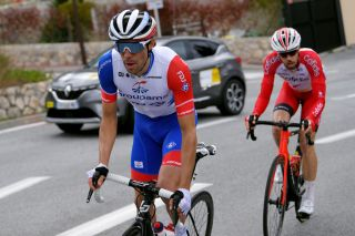 GOURDON FRANCE FEBRUARY 19 Thibaut Pinot of France and Team Groupama FDJ Jesus Herrada Lopez of Spain and Team Cofidis Solution Credits during the 53rd Tour Des Alpes Maritimes Et Du Var Stage 1 a 1868km stage from Biot to Gourdon 698m letour0683 on February 19 2021 in Gourdon France Photo by Luc ClaessenGetty Images