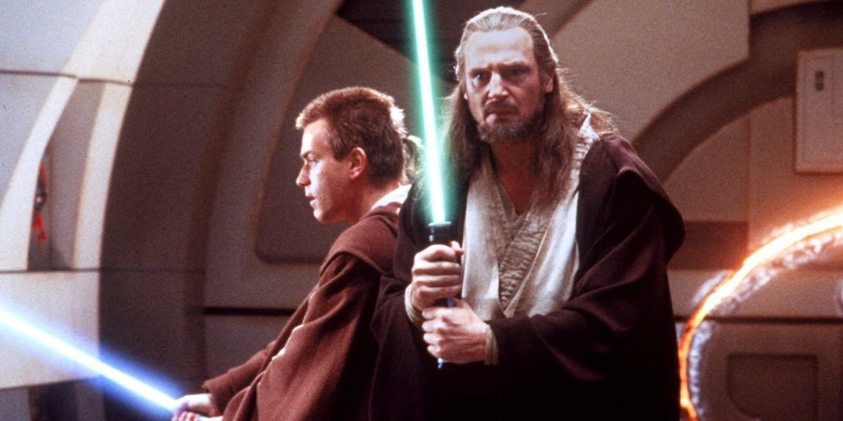 Star Wars: The Phantom Menace Obi Wan and Qui-Gon with lightsabers at the ready