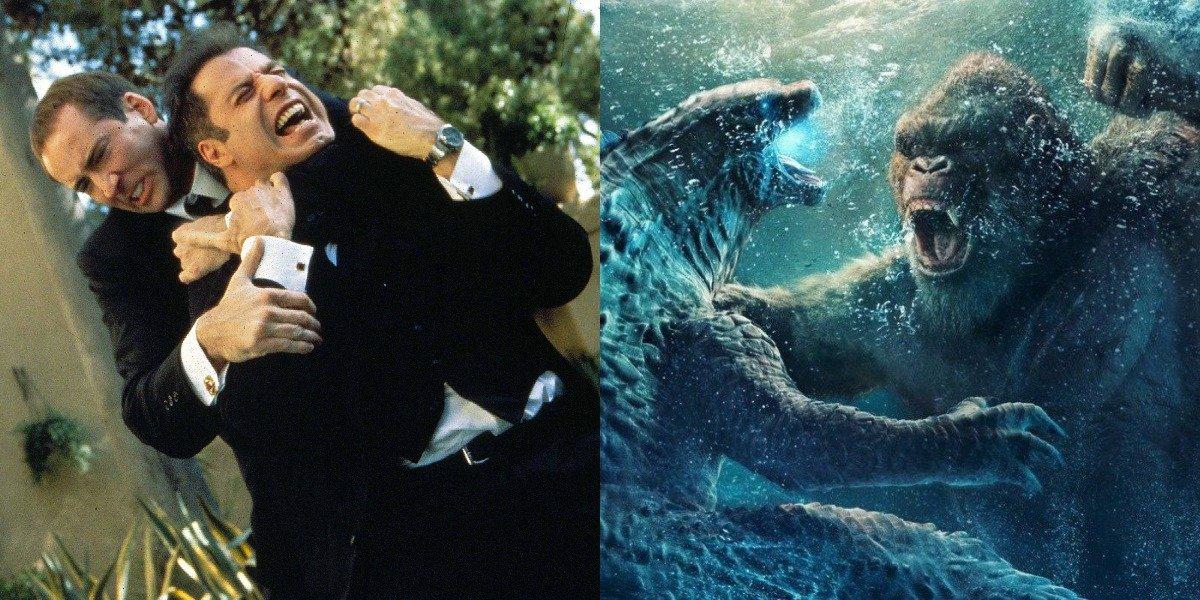 Nicolas Cage and John Travolta in Face/Off and the Godzilla vs. Kong poster