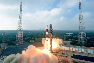 Four unauthorized cubesats apparently launched atop this Indian Polar Satellite Launch Vehicle rocket in January 2018, according to the U.S. Federal Communications Commission.