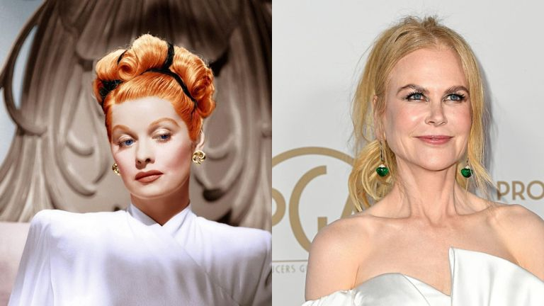 Lucille Ball and Nicole Kidman, who is playing her in Being the Ricardos