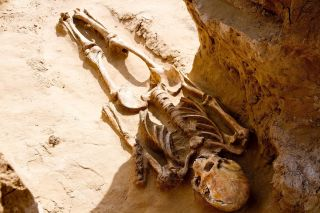 Here, one of the 2,500-year-old skeletons discovered in a kurgan in Russia.