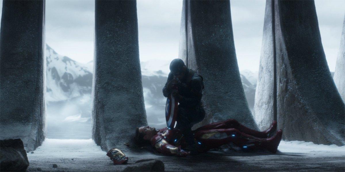 Captain America drives his shield into Iron Man's arc reactor in Captain America Civil War