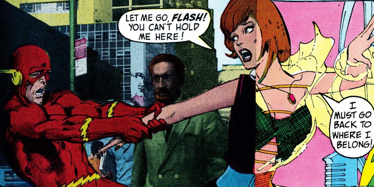 Flash Comic book cover with Flash and Iris West trying to return to the future