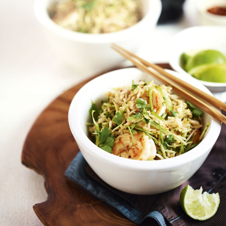 Prawn-ginger-Stirfry-Basmati rice-food-woman and home
