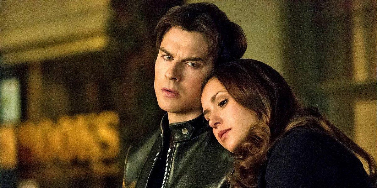 Ian Somerhalder as Damon Salvatore and Nina Dobrev as Elena Gilbert in The Vampire Diaries.