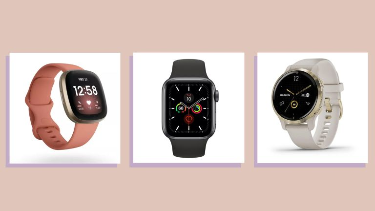 three of the best smartwatches on peach background