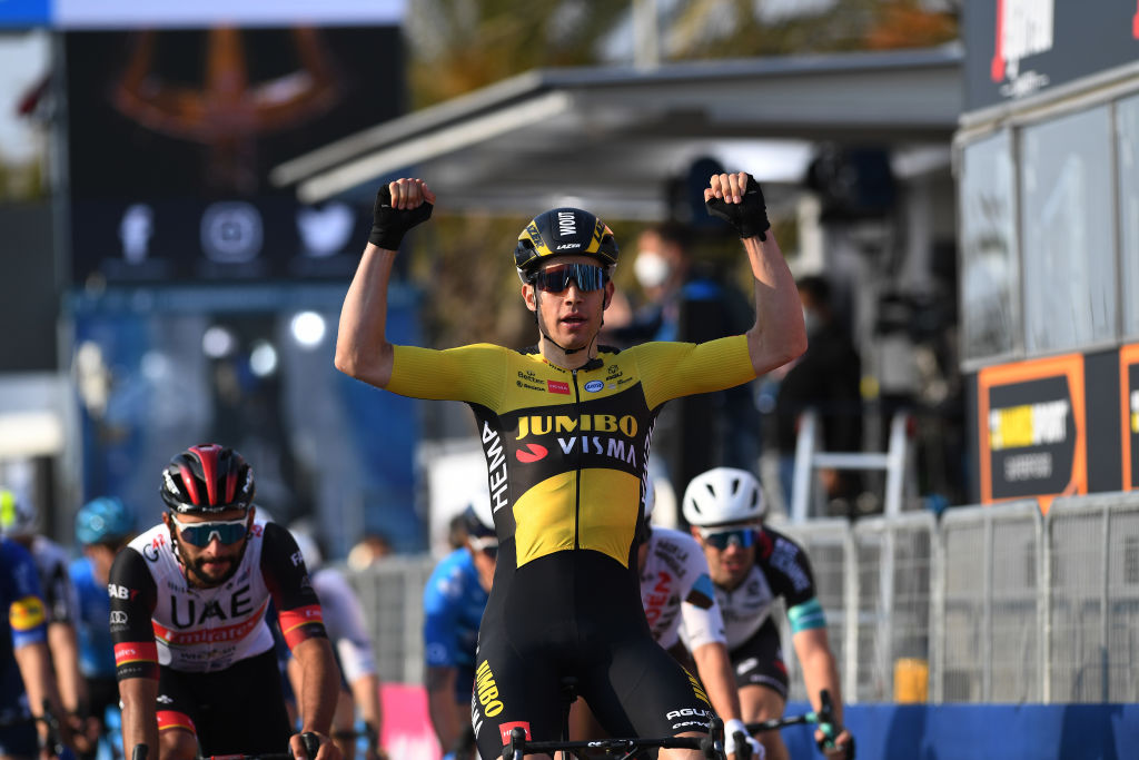 LIDO DI CAMAIORE ITALY MARCH 10 Arrival Wout Van Aert of Belgium and Team Jumbo Visma Celebration Fernando Gaviria Rendon of Colombia and UAE Team Emirates during the 56th TirrenoAdriatico 2021 Stage 1 a 156km stage from Lido di Camaiore to Lido di Camaiore TirrenoAdriatico on March 10 2021 in Lido di Camaiore Italy Photo by Tim de WaeleGetty Images