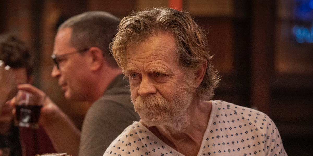 william h. macy's frank gallagher in the bar wearing hospital gown on shameless series finale