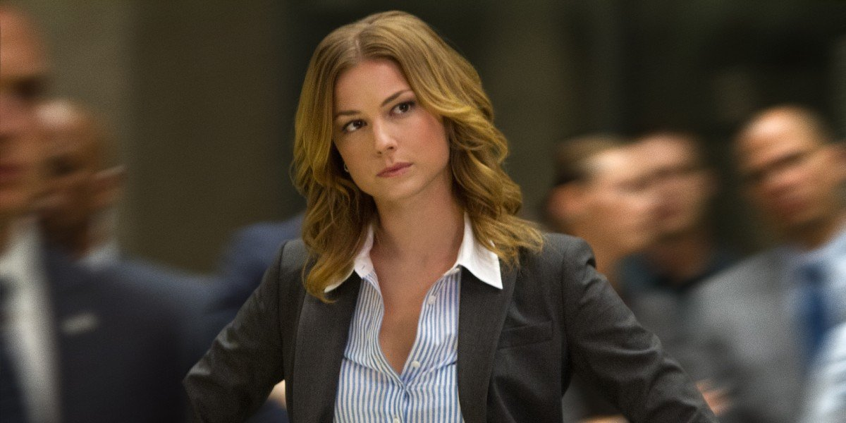 Sharon Carter (Emily VanCamp) is curious in Captain America: The Winter Soldier (2014)